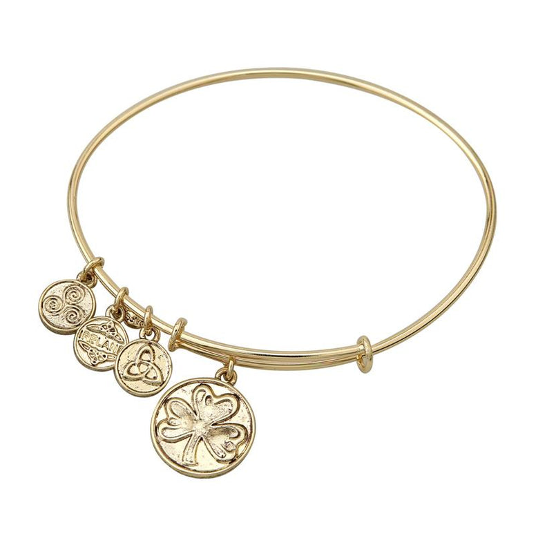 Shamrock Charm Expanding Antique Gold-Tone Bangle Bracelet
