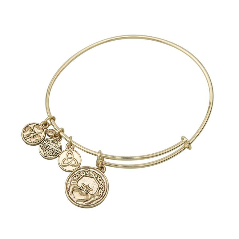 Claddagh Charm Expanding Antique Gold-Tone Bangle Bracelet