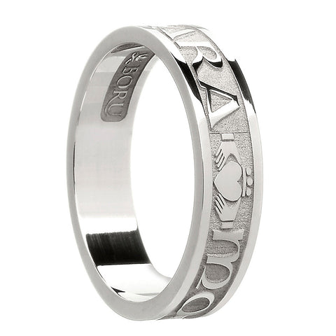 sterling silver or white gold women's mo anam cara band ring