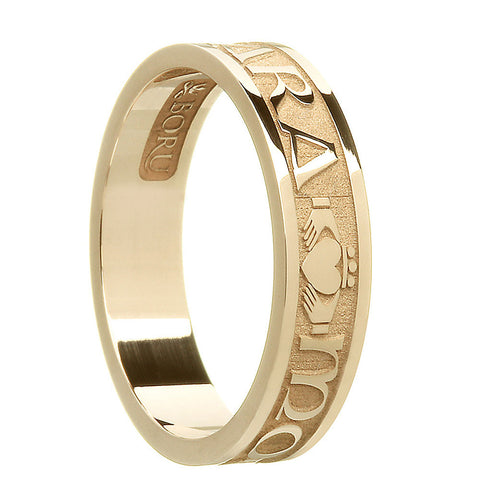 10k or 14k yellow gold women's mo anam cara band ring