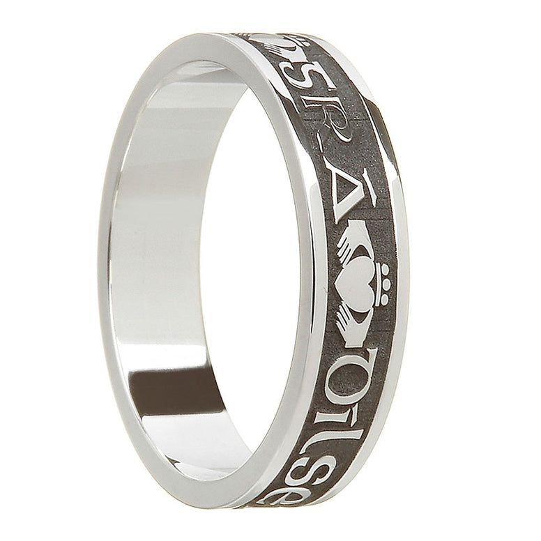 oxidized antiqued sterling silver women's gra dilseacht cairdeas band ring