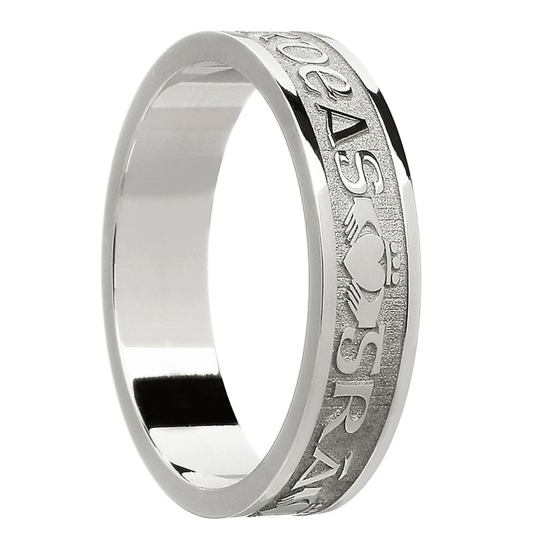 sterling silver or white gold women's gra dilseacht cairdeas band ring