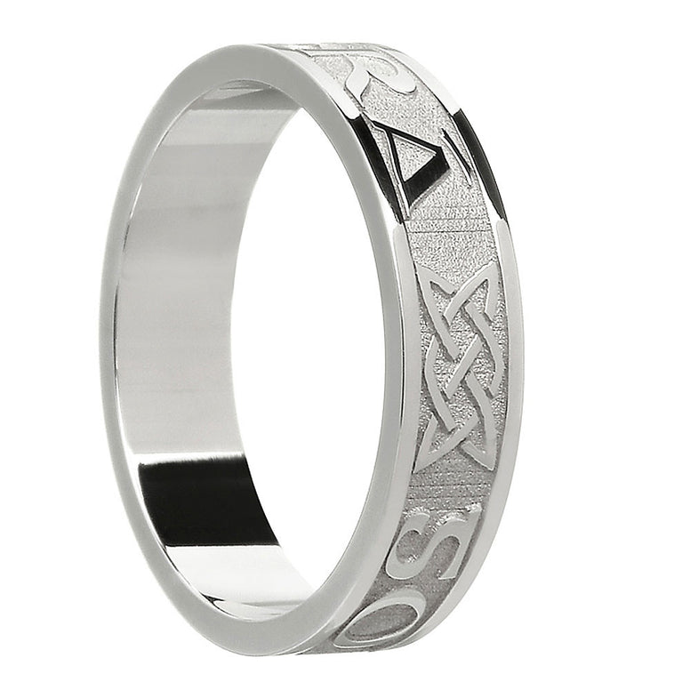 sterling silver or white gold women's gra go deo band ring