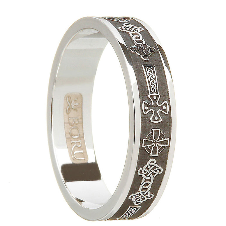 oxidized antiqued sterling silver women's celtic cross wedding band ring