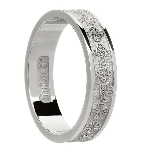 sterling silver or white gold women's celtic cross wedding band ring