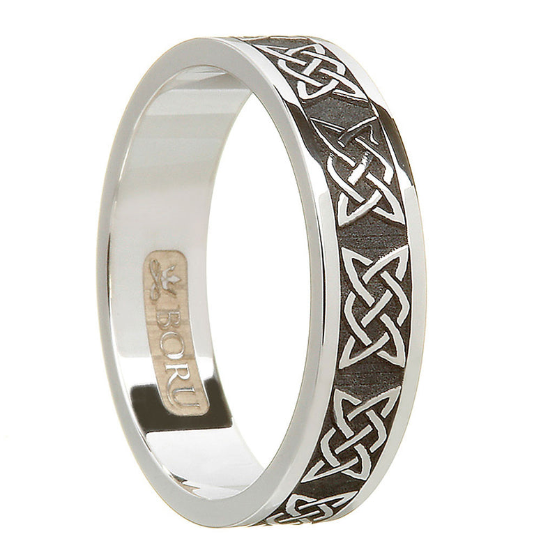 oxidized antiqued sterling silver women's celtic lover's knot wedding band ring
