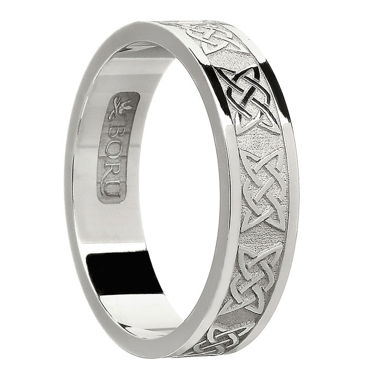 sterling silver or white gold women's celtic lover's knot wedding band ring