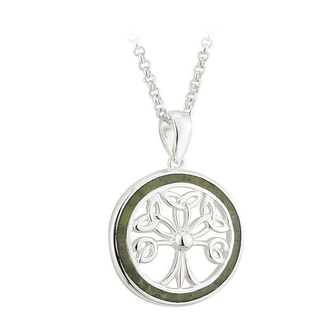 Sterling Silver Connemara Marble Tree of Life Pendant Necklace