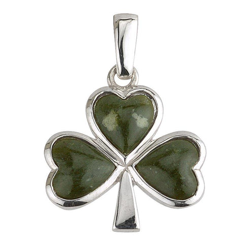 Sterling Silver Connemara Marble Shamrock Pendant Necklace