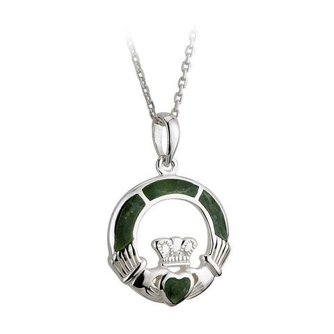 Sterling Silver Connemara Marble Claddagh Pendant Necklace