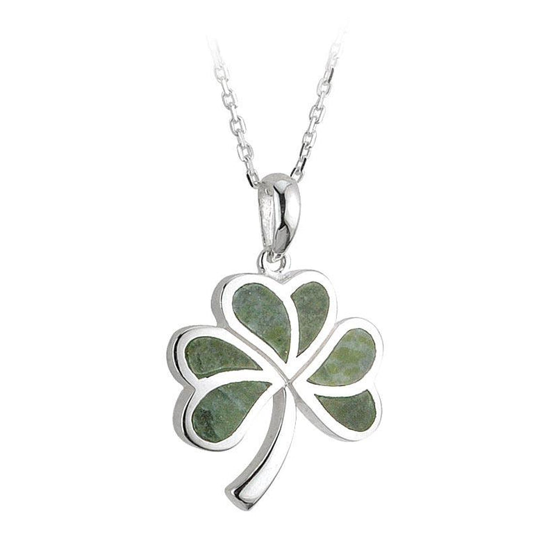 Sterling Silver Connemara Marble Shamrock Flat Pendant Necklace