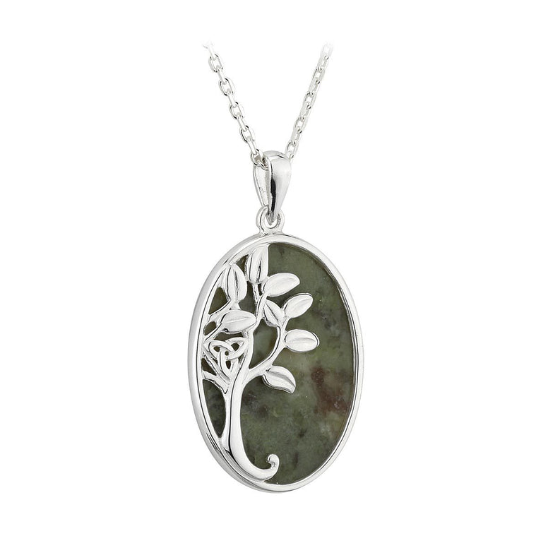 Sterling Silver Connemara Marble Oval Tree of Life Pendant Necklace