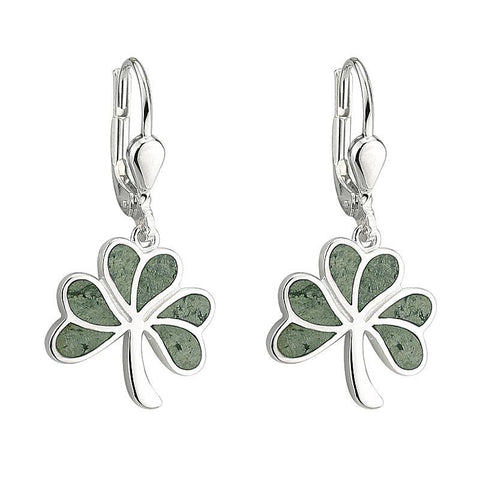 Sterling Silver Connemara Marble Shamrock Flat Drop Earrings