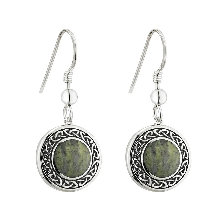 Sterling Silver Round Connemara Marble Celtic Knot Drop Earrings