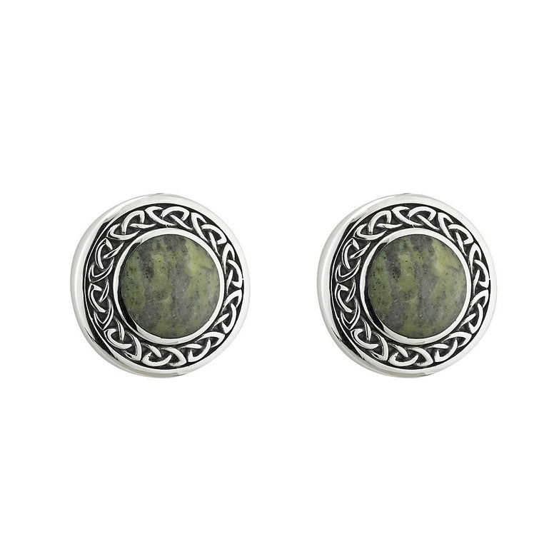 Sterling Silver Round Connemara Marble Celtic Knot Earrings