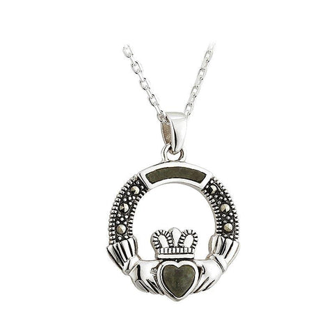 Sterling Silver Connemara Marble and Marcasite Claddagh Pendant Necklace