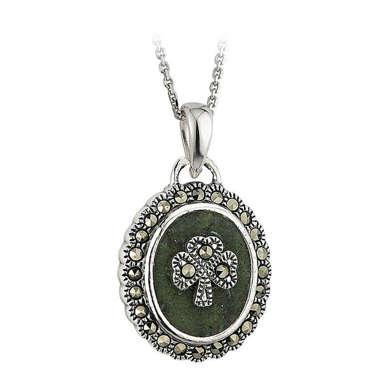 Sterling Silver Connemara Marble and Marcasite Shamrock Oval Pendant Necklace