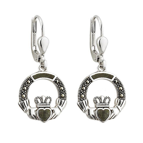 Sterling Silver Connemara Marble and Marcasite Claddagh Drop Earrings