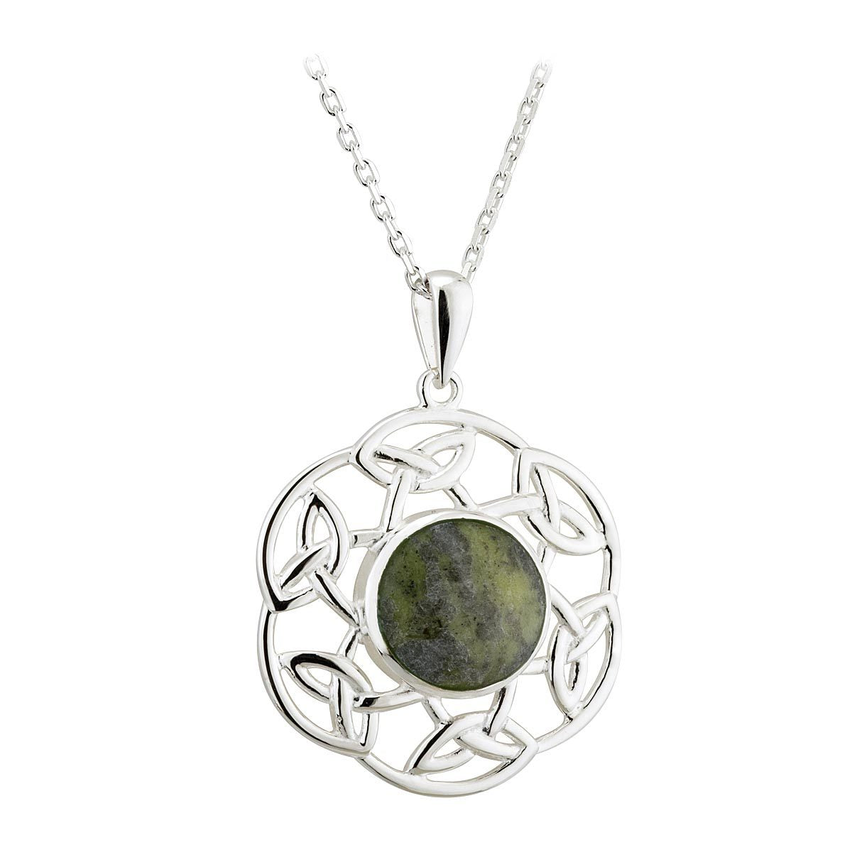Sterling Silver Connemara Marble Filigree Knotwork Pendant Necklace