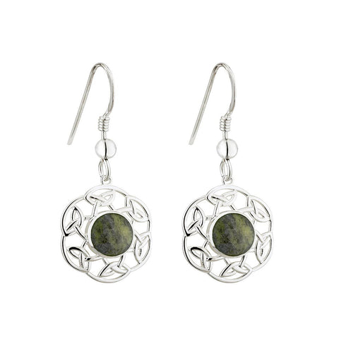 Sterling Silver Connemara Marble Filigree Knotwork Drop Earrings