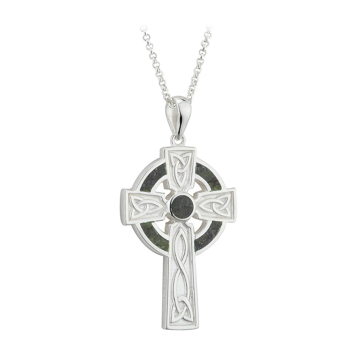 Large Sterling Silver Connemara Marble Celtic Knot Cross
