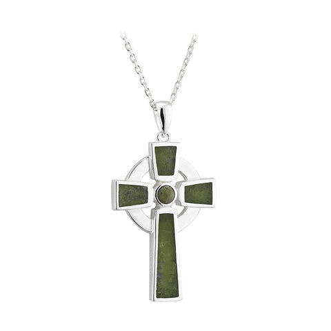 Sterling Silver Connemara Marble Simple Celtic Cross