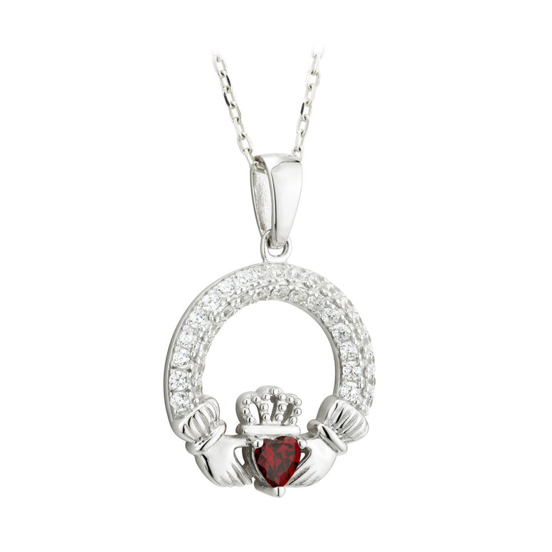 Claddagh January Birthstone Pendant Necklace