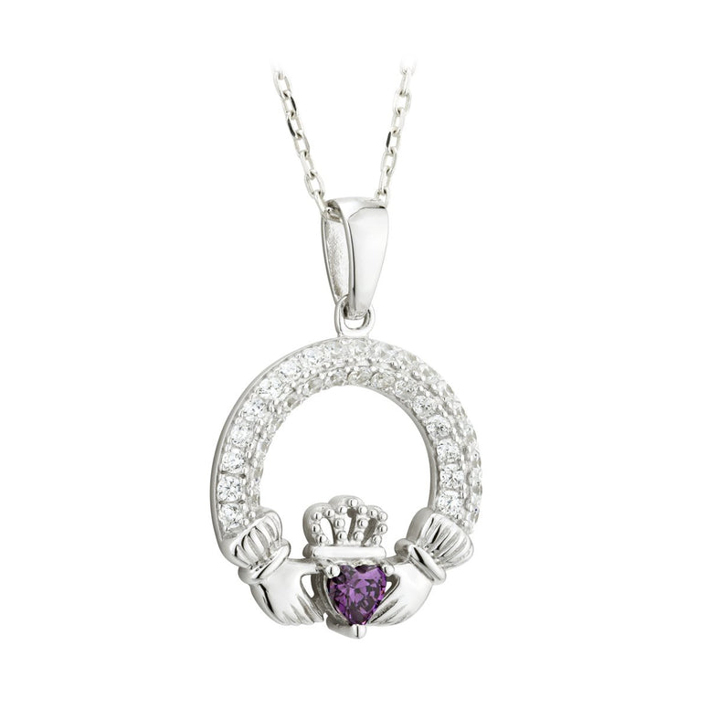 Claddagh February Birthstone Pendant Necklace