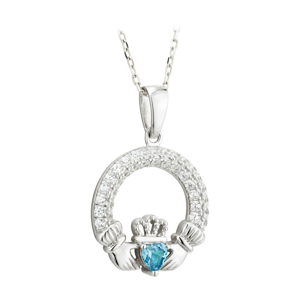 march birthstone claddagh pendant