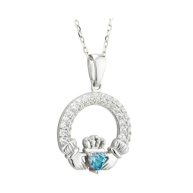 Claddagh March Birthstone Pendant Necklace