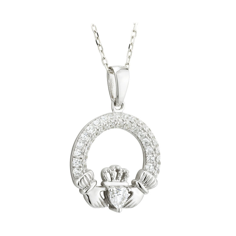Claddagh April Birthstone Pendant Necklace