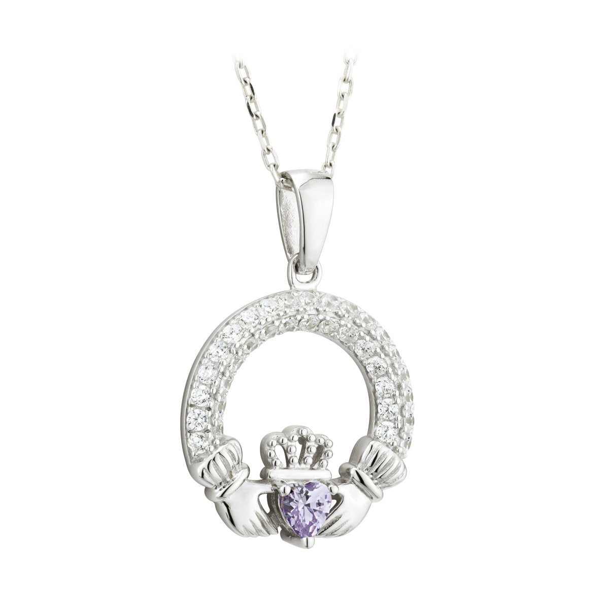 Claddagh June Birthstone Pendant Necklace