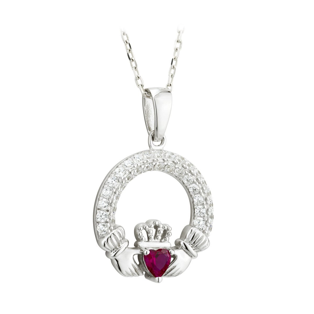 Claddagh July Birthstone Pendant Necklace