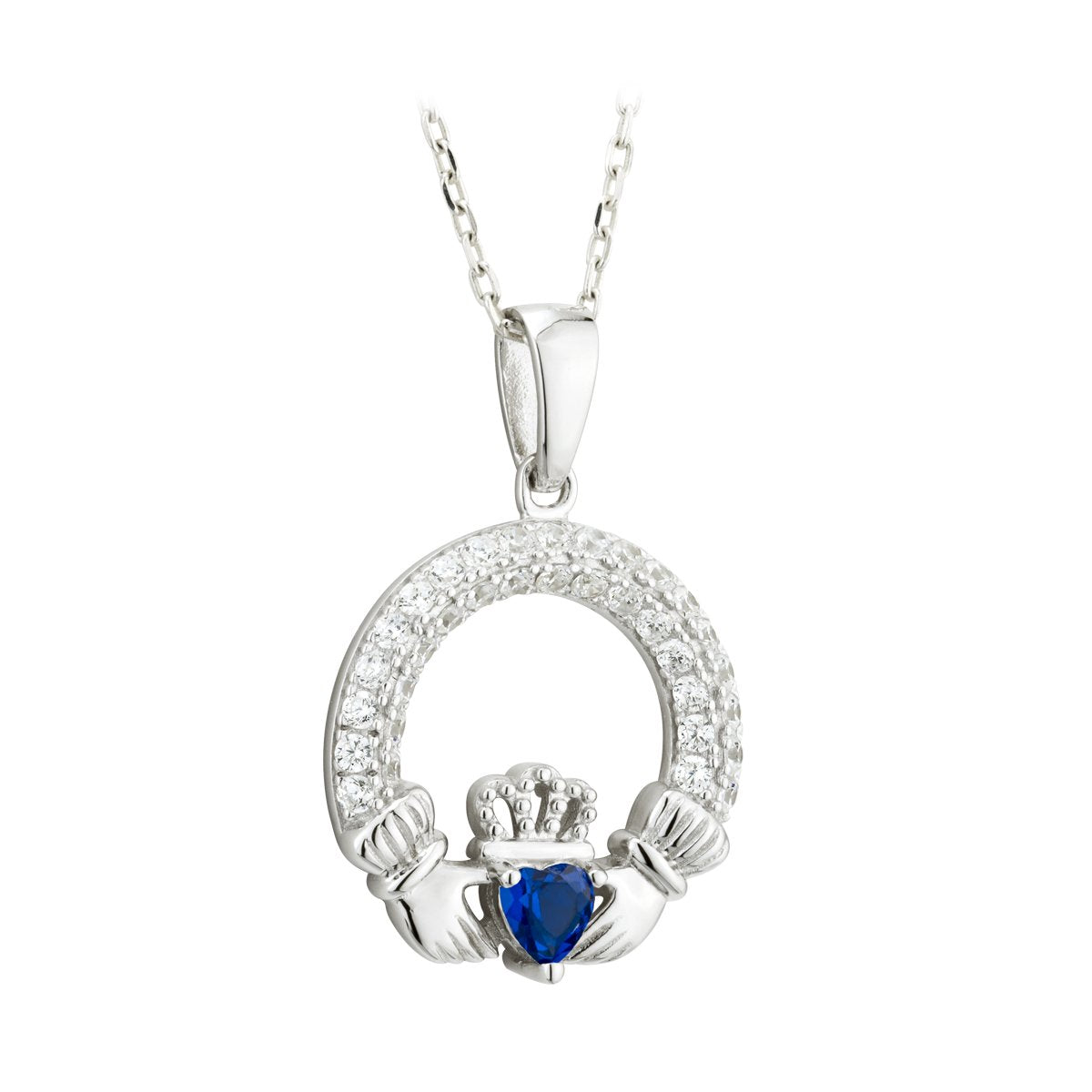 Claddagh September Birthstone Pendant Necklace