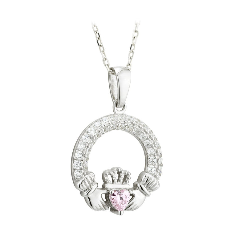 Claddagh October Birthstone Pendant Necklace