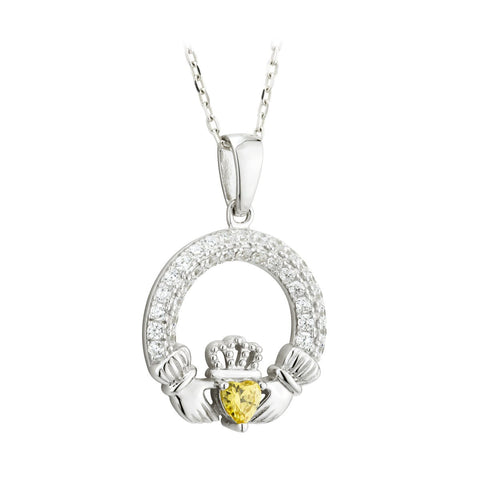 Claddagh November Birthstone Pendant Necklace
