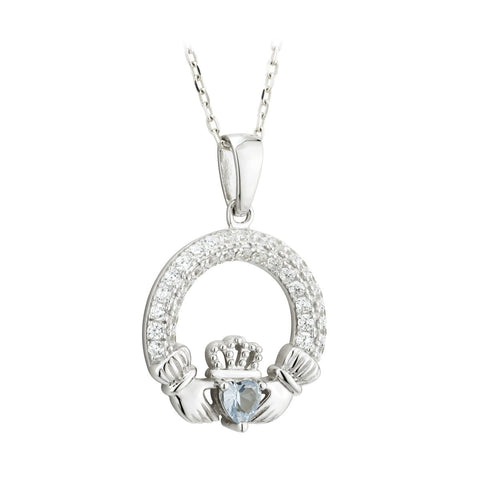 Claddagh December Birthstone Pendant Necklace