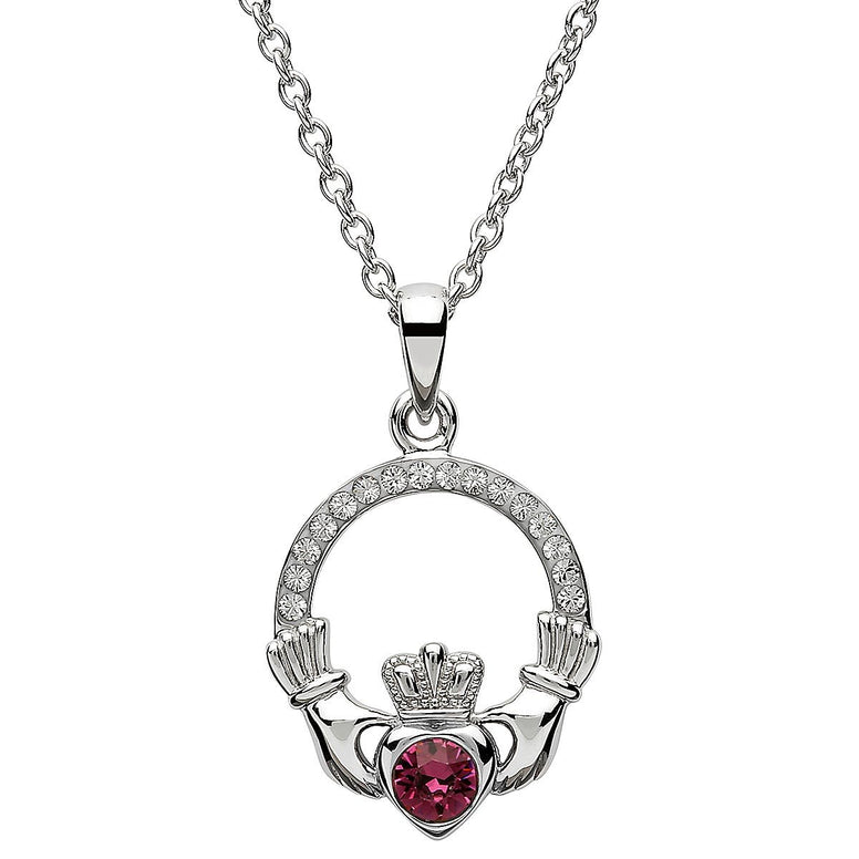 February Birthstone Claddagh Swarovski Crystal Necklace