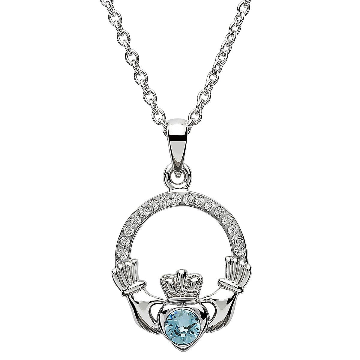 March Birthstone Claddagh Swarovski Crystal Necklace