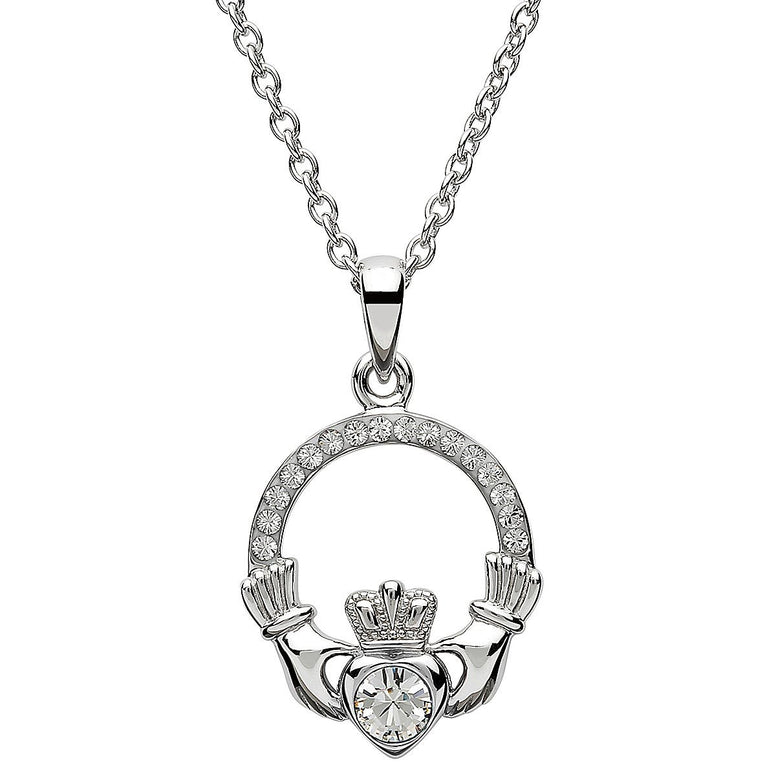 April Birthstone Claddagh Swarovski Crystal Necklace