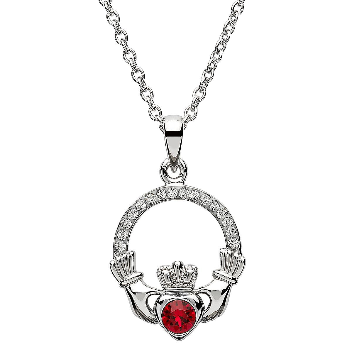 July Birthstone Claddagh Swarovski Crystal Necklace