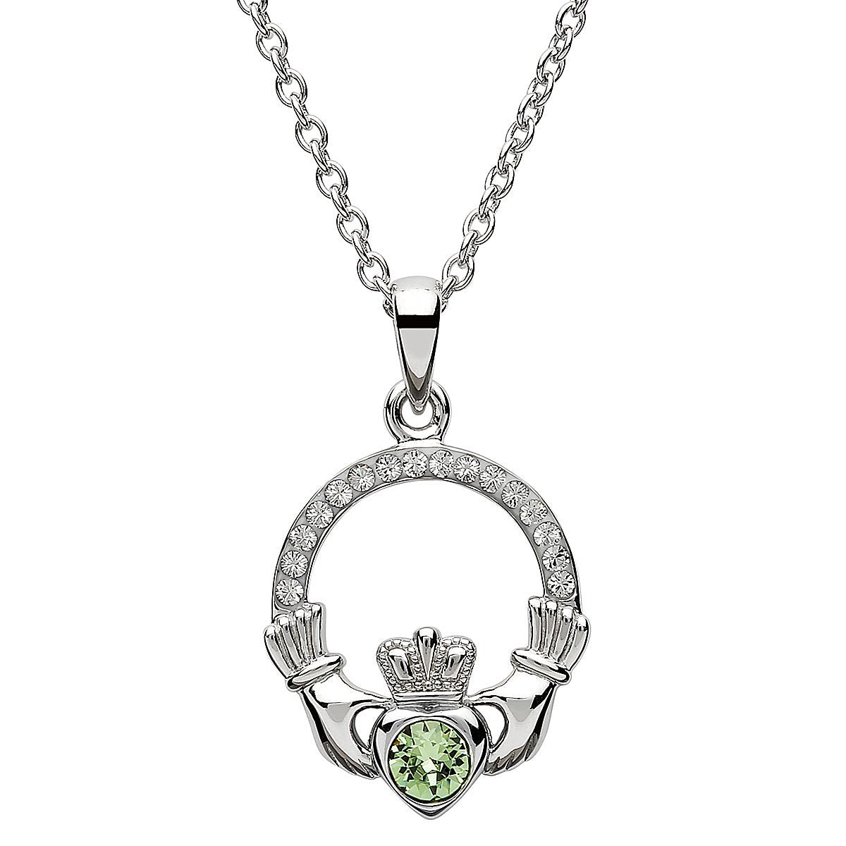 August Birthstone Claddagh Swarovski Crystal Necklace
