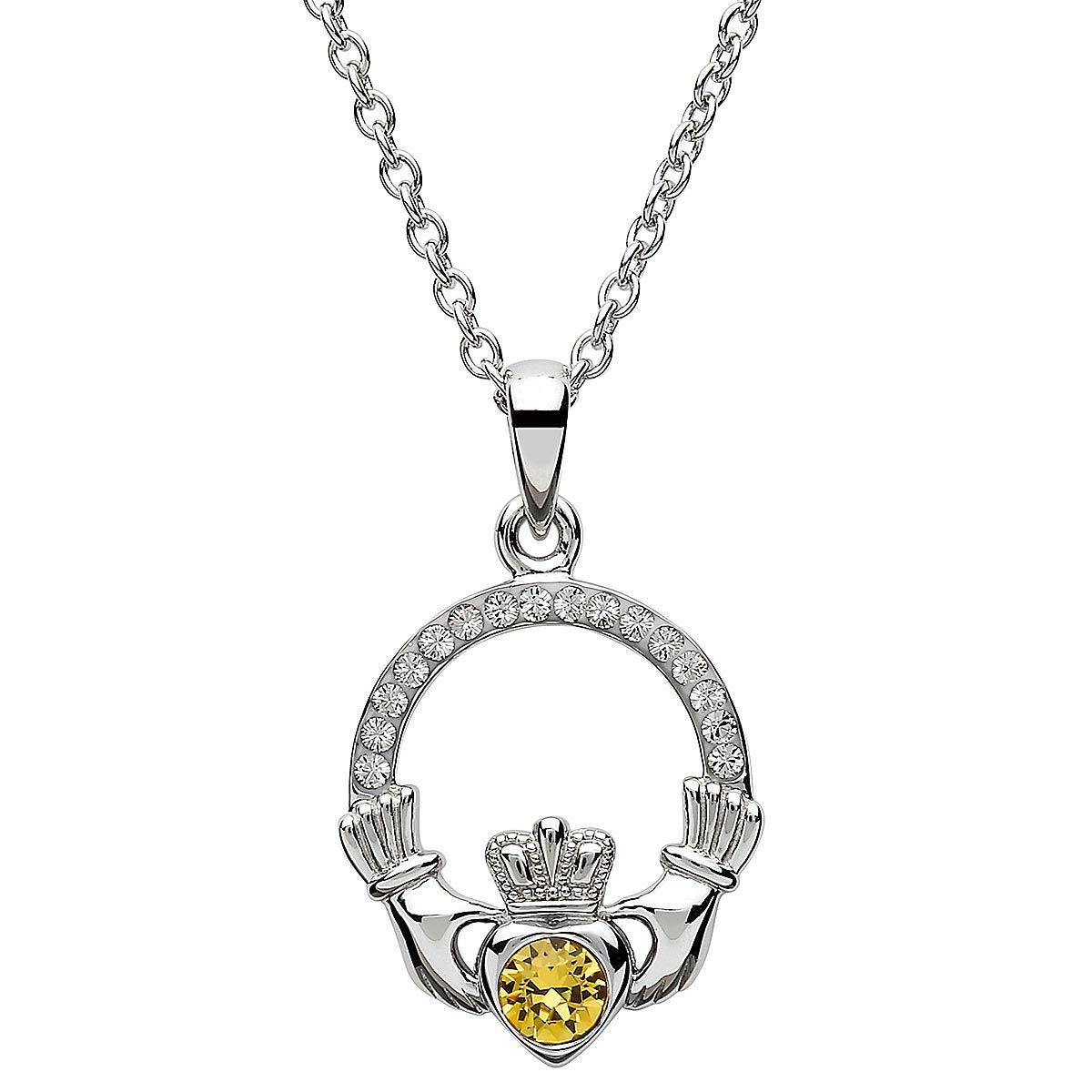 November Birthstone Claddagh Swarovski Crystal Necklace