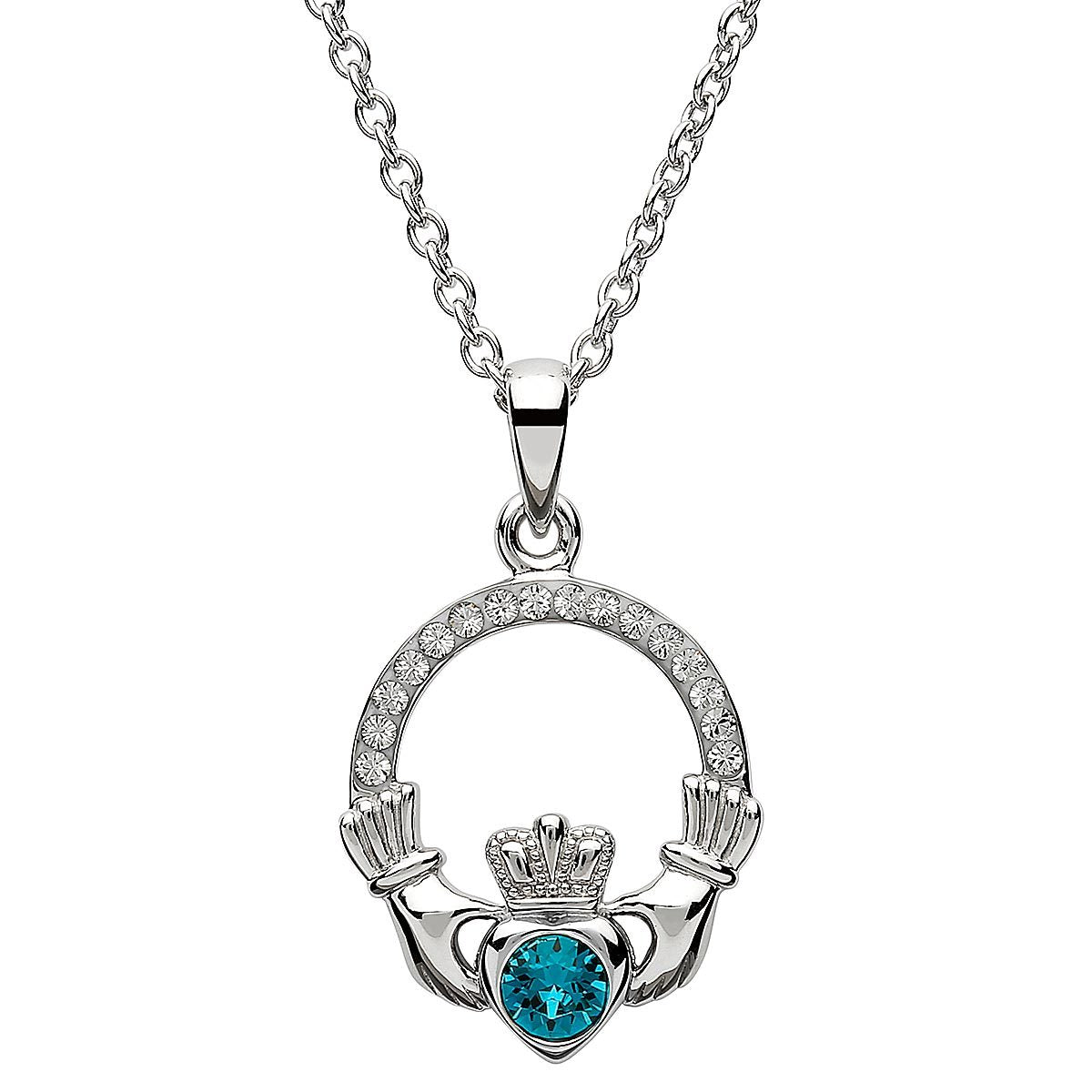 December Birthstone Claddagh Swarovski Crystal Necklace