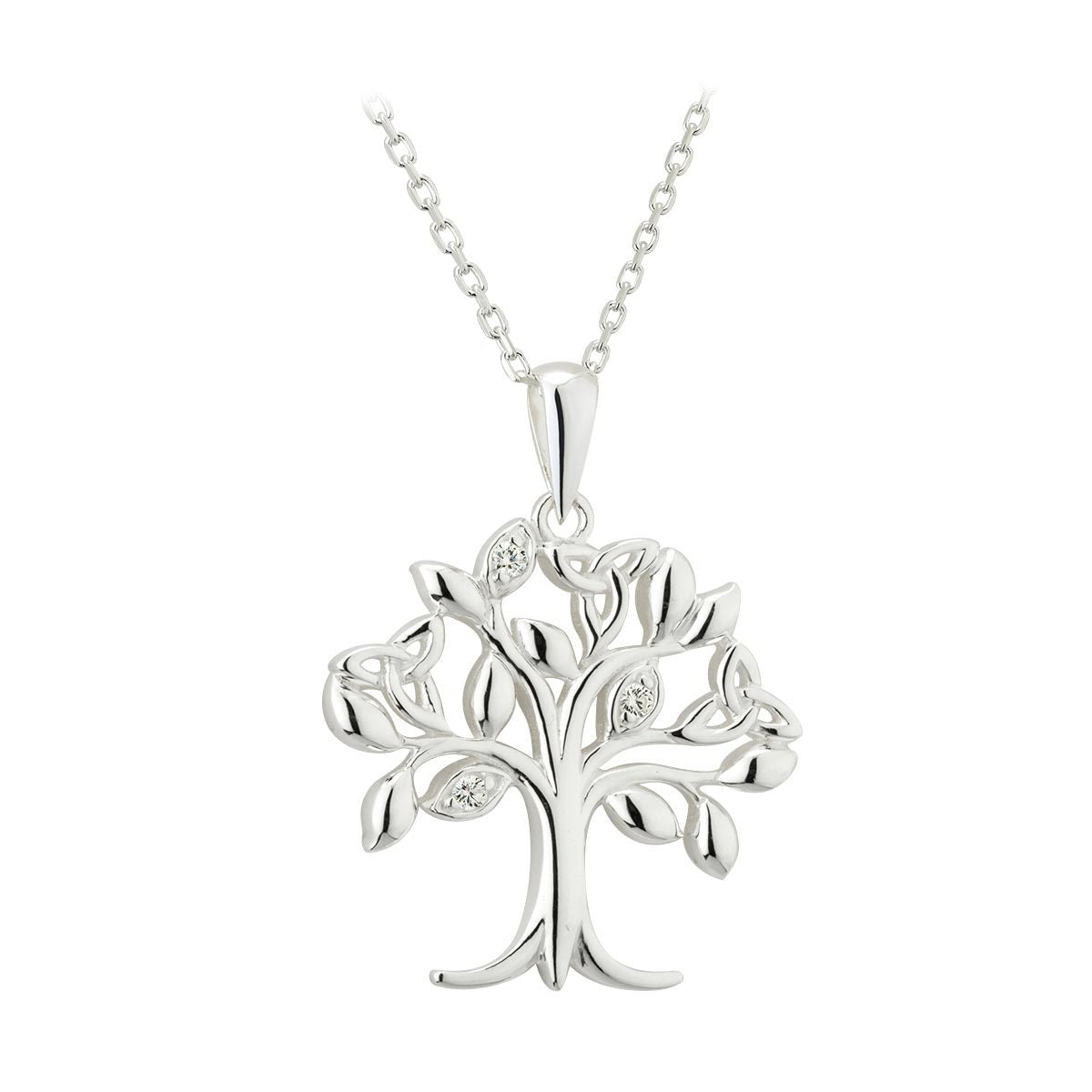 Sterling Silver Crystal Set Tree of Life Pendant Necklace