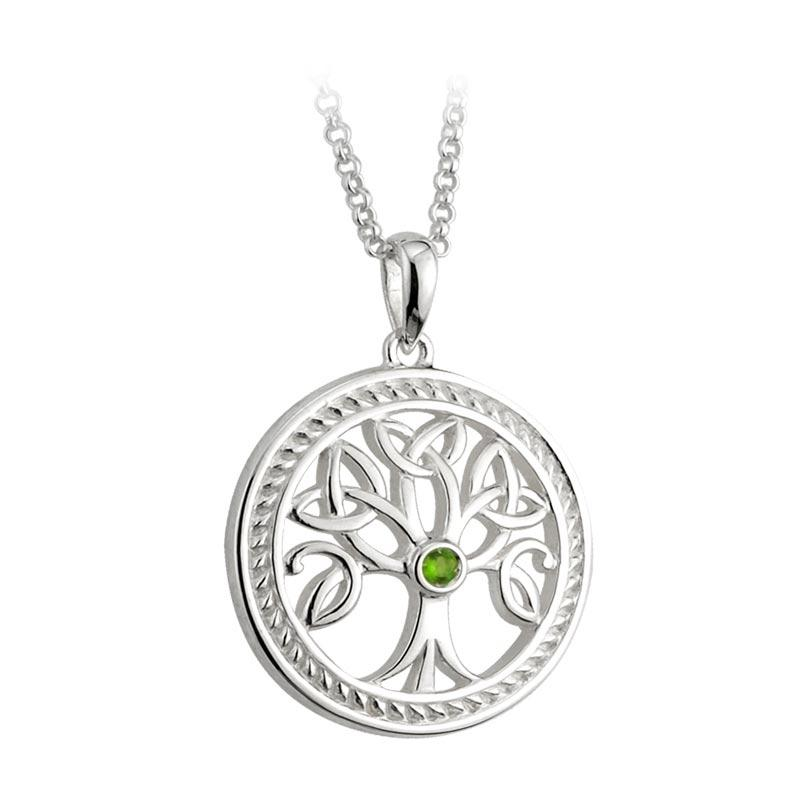 Sterling Silver Green Crystal Tree of Life Pendant Necklace