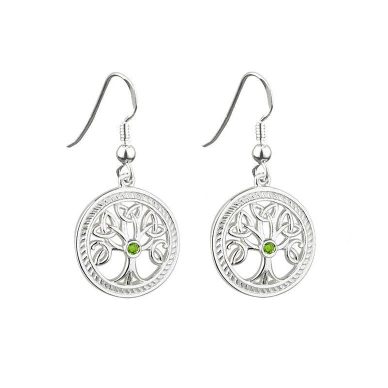 Sterling Silver Green Crystal Tree of Life Drop Earrings