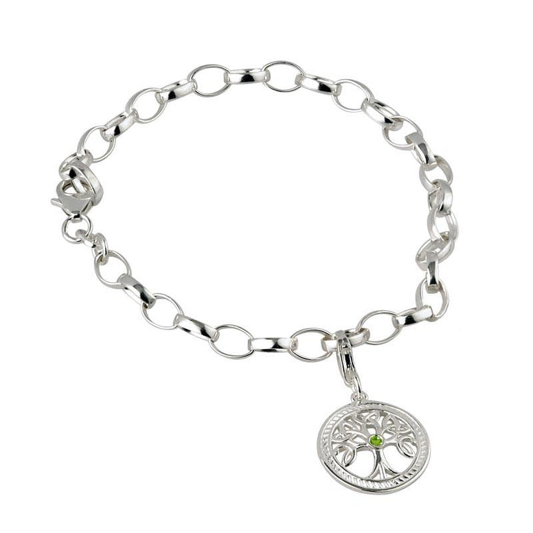 Sterling Silver Green Crystal Tree of Life Charm Bracelet