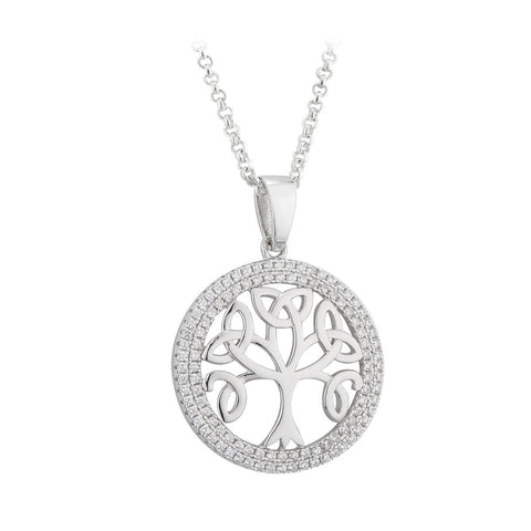 Sterling Silver CZ Tree of Life Pendant Necklace