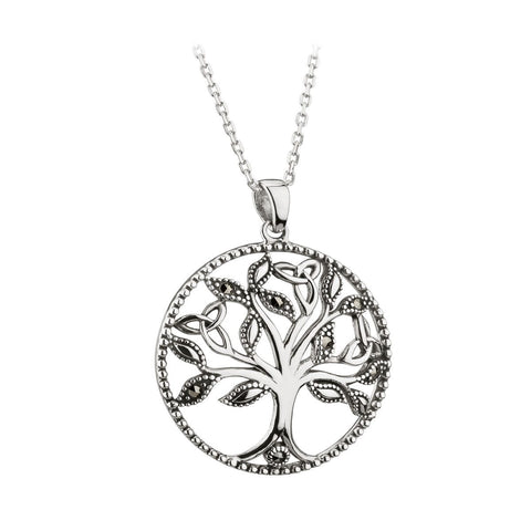 Sterling Silver Marcasite Tree of Life Pendant Necklace